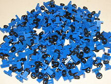 LEGO BULK LOT OF 200 BLUE CAR STEERING WHEELS WITH STAND TRUCK TOWN PIECES