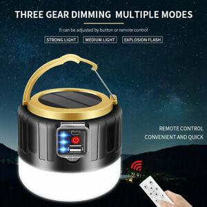 280W Solar LED Camping Light Tent Lamps USB Rechargeable Bulb Lantern Flashlight