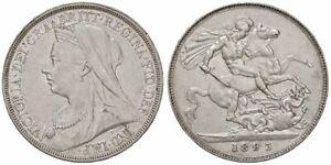 GREAT BRITAIN Victoria veiled head silver Crown 1893 km-783 high grade