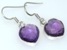 Purple Amethyst Facet Cut Heart Shaped Gemstone 925 Sterling Silver Earrings NEW