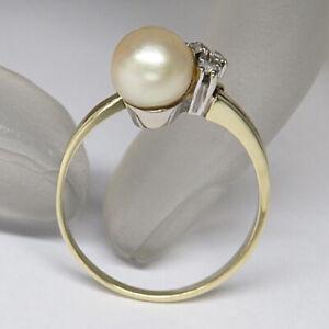Ring mit ca. 0,06ct Diamant und  Zuchtperle in 585/14K Gelbgold