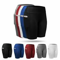 Athletic Women Compression Trousers Yoga Workout Gym Legging Pocket Short Pants