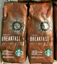 Starbucks Whole Bean Coffee Medium Roast Breakfast Blend 16oz each 2 Pack