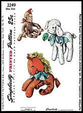 Monkey Horse Lamb Toy Craft Stuffed Animal Fabric Sew Pattern Simplicity 2249