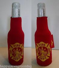 2-Fire Department Dept Fighter Beer Soda Water Bottle Wrap Cooler Jacket Koozie