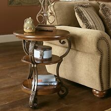 Ashley Signature Design Nestor Chair Side Round End Table in Medium Brown New