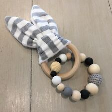 Natural Wood & Silicone Beads,Crinkle Sound Bunny Ears Teething Ring Toy, Greys
