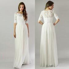 2018 White/Ivory Jewel Neck Chiffon/Lace Half Sleeve Wedding Dresses Custom Made
