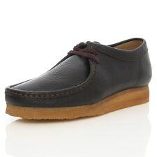 Clark original neuf X WALLABEES chaussures noires / Cuir Brun UK 12