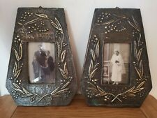 Antique Arts And Crafts Movement pair of hammered brass wall hanging frames