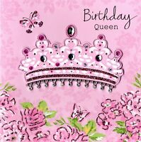 Embellished Birthday Queen Card Handfinished Greeting Cards
