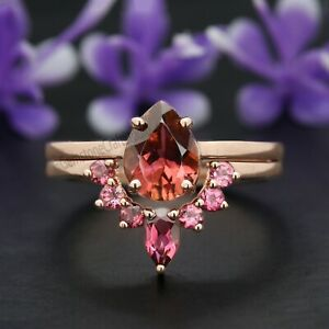 Pink Tourmaline Pear Stone Ring Set 14K Solid Gold Engagement Gift Ring GR295