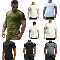 Muscle tee t shirts blouse slim fit summer t shirt tops casual o neck men's