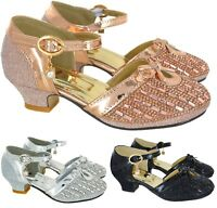KIDS GIRLS CHILDREN MID HIGH HEEL DIAMANTE BRIDESMAID PARTY SANDALS SHOES SZ 6-2