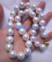 "12-15mm white pearl necklace 18"" Gorgeous AAA++  natural south sea  14k Gold"