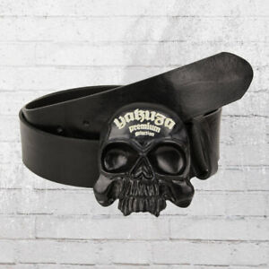 Yakuza Premium Ledergürtel Skull Schnalle schwarz Leder Gürtel Leather belt