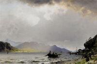 Oil painting Georg Anton Rasmussen - return of the fishing fleet seascape canoes