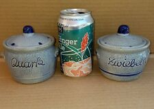 Salt Glazed Handmade in W Germany vintage  - quark & zwiebeln covered containers