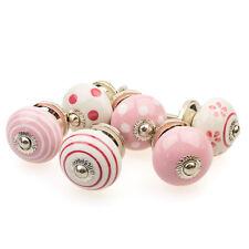 6 er Set 087GN rosa weiss Möbelknöpfe Möbelgriffe Möbelknopf Keramik Shabby