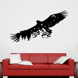 Soaring Eagle in Night-Time Landscape Wall Sticker Decal Bird Animal Outdoors
