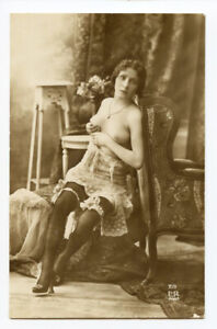 1910s Risque Nude French LOVELY LADY Pretty Woman Beauty photo postcard