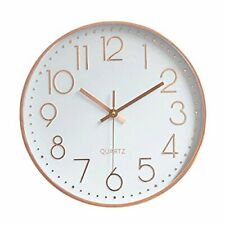 Foxtop Rose Gold Wall Clock 12 inch Silent Non-Ticking Quartz Decorative Modern
