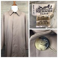 Vintage Hermes Mens Trench Coat Jacket Wool High Quality Paris Luxury US Size 52