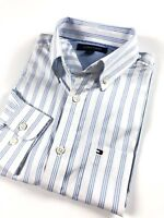 TOMMY HILFIGER Shirt Men's Lightweight Oxford Blue / White Stripe Custom Fit