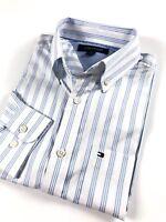 TOMMY HILFIGER Shirt Men's Lightweight Oxford Blue / White Stripe Custom Fit