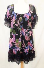 Miss Selfridge Black Pink Lilac Floral Gypsy Smock Boho Dress size 8