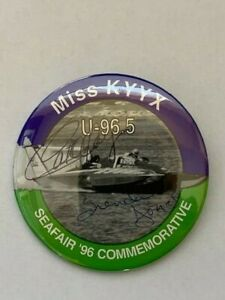 1996 MISS KYYX SEAFAIR COMMEMORATIVE PROTOTYPE BOTH SIGNED HYDROPLANE PIN