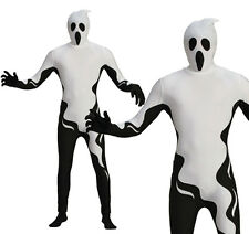 Adult Ghost Body Suit Ghoul Fancy Dress Costume Halloween Outfit