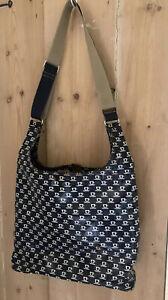 Orla Kiely Bag. Navy Sling Bag. Tan Leather Trim. Stem Print Lining
