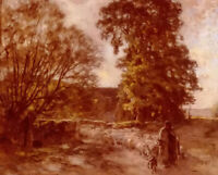 Oil painting leon augustin lhermitte - shepherd and sheep in landscape canvas