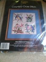 """Vintage Golden Bee Counted Cross Stitch Kit Birds Patchwork Picture 12"""" x 12"""""""