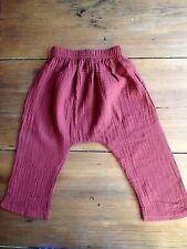 Kids Red Cotton Harem Pants - Unisex Boys or Girls Sz 6