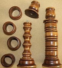 """Nos Vintage Home Interiors Homco 8"""" Wood Candle Sticks w Removable Napkin Rings"""