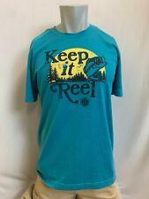 "New Life is Good Men's ""Keep It Reel"" T-Shirt, Blue, Medium"