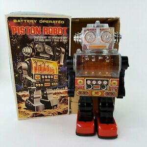 VTG Battery Operated Piston Robot SJM 3007 Taiwan Pre 1970 Space Tin Toy READ
