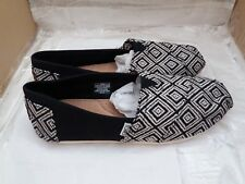 TOMS Classic Black & White Woven Diamond Canvas Ladies Shoes - UK 7.5