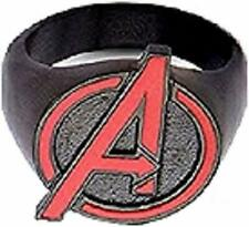Black IP with Red Avengers Logo - Stainless Steel Quality Mens Ring, Size - 9