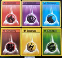 Lot des 6 Cartes Pokemon ENERGIE /102 Set de Base Wizards FR