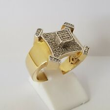 10ct Yellow & White Gold X Pinky Ring With VS Diamonds Size P 1/2