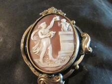 Fabulous Antique RARE Muse & Cherub Swivel Cameo Brooch