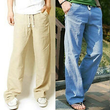 Men's Casual Loose Drawstring Waist Solid Linen Trousers Beach Pants Stylish