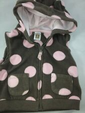 CARTER'S 9MO SLEEVELESS HOODED SWEATER BROWN/PINK POLKA DOTS 100% POLYESTER