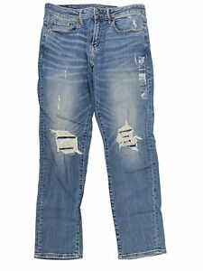 NWT AMERICAN EAGLE Next Level Flex Athletic Jeans 31x30 Light Rips #160139