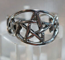 Ring Solid 92.5 Sterling Silver SZ 6.5 PENTACLE PENTAGRAM Wiccan Pagan CR235