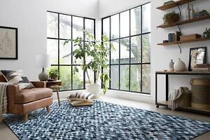 Large Floor Rug Blue Grey Printed Patchwork Cowhides Carpet Mat Bedroom Area Rug