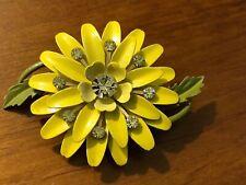Vintage Mod 1960s Yellow Enamel Rhinestone Flower Pin Brooch Chrysanthemum